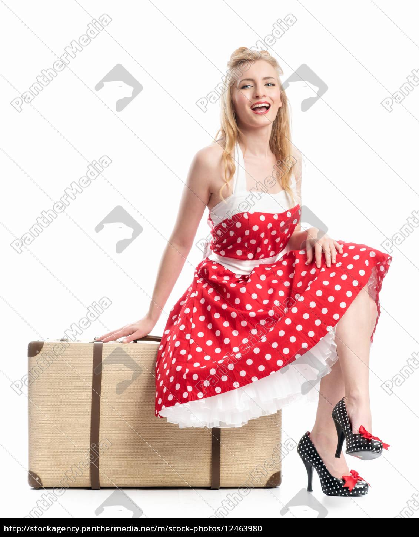 ein, pinup, girl, sitzt, auf, einem - 12463980
