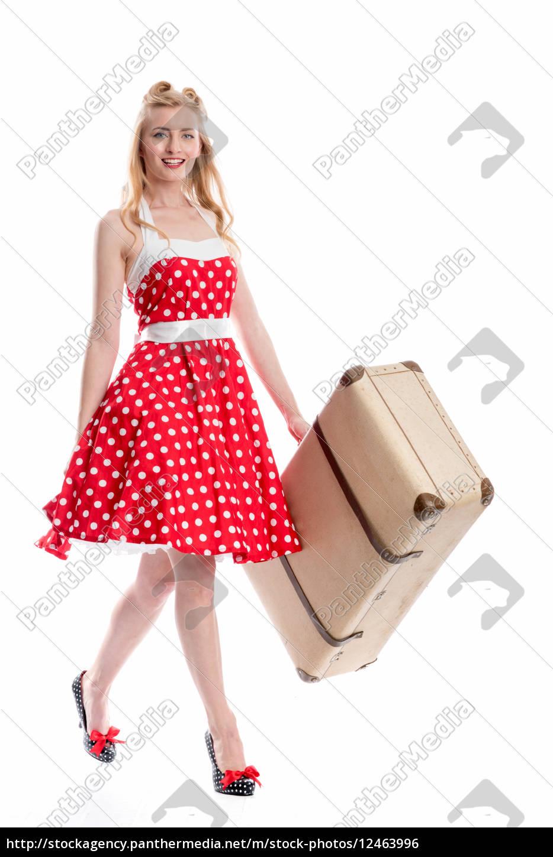 frau, mit, koffer, verreist - 12463996