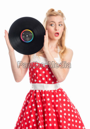 woman with records