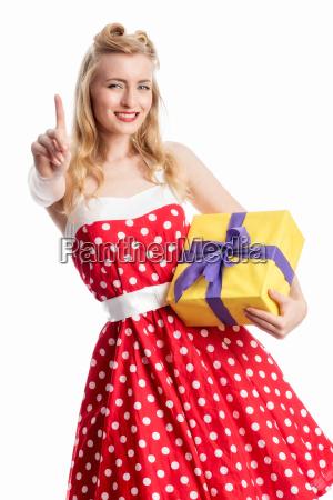 pinup, girl, mit, geschenk - 12464042