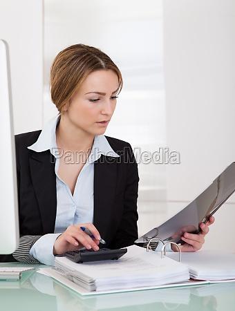 geschaeftsfrau im buero arbeiten
