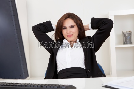 businesswoman relaxing at the office