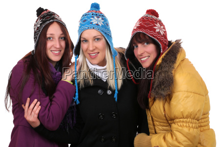 group of young women in winter