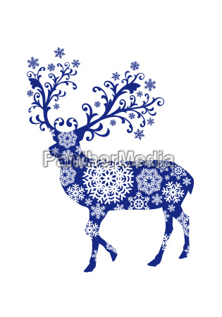 blue christmas deer with snowflakes