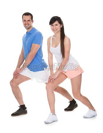 portrait of couple exercising