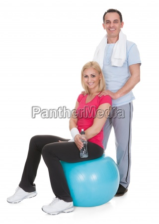 portrait of couple working out