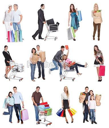 menschen leute personen mensch freisteller einkaufen