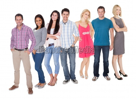 casual group of people standing over