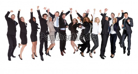 gruppe von menschen begeisterte geschaeftsleute