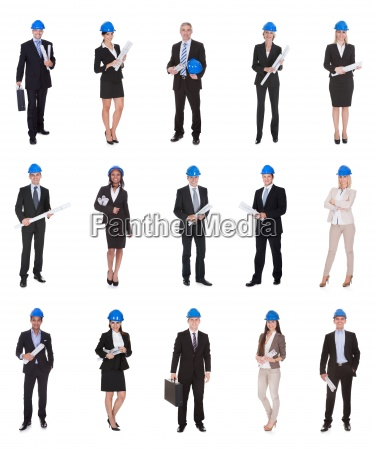 group of business people raising arm