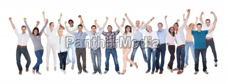 happy group of people dressed in