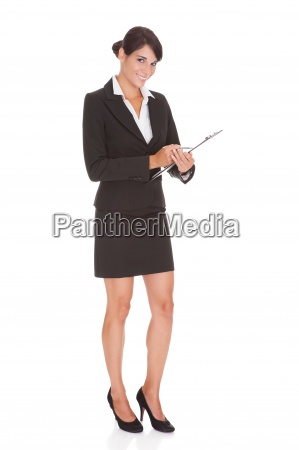 businesswoman with clipboard