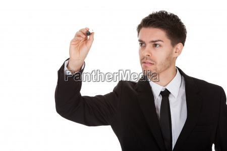 businessman drawing on the screen