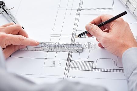 architekt zeichnung auf blueprint