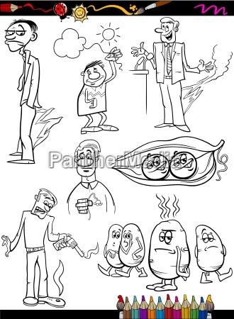 sayings set cartoon coloring page