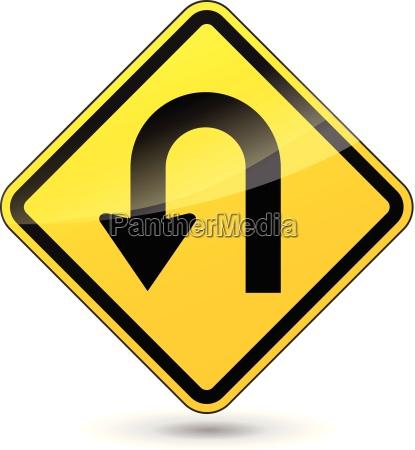 vector u turn sign