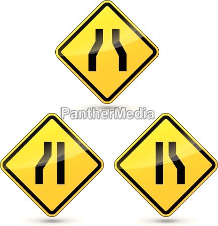 vector narrow road sign
