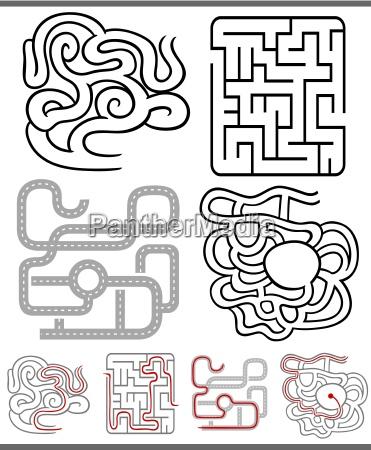 labyrinthe, oder, labyrinthe, diagramme, eingestellt - 12533014