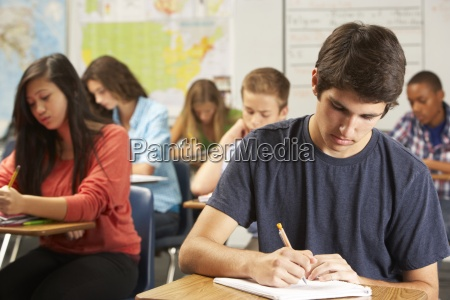 male pupil studying at desk in
