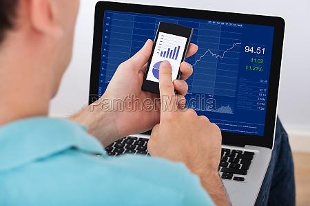 man wird analysiert stock market mit