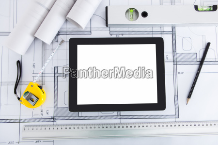 digital tablet with architects tools on