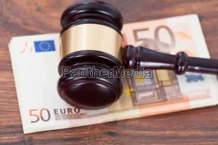 judge mallet on euro banknotes