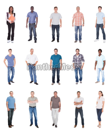collage of multiethnic people in casuals