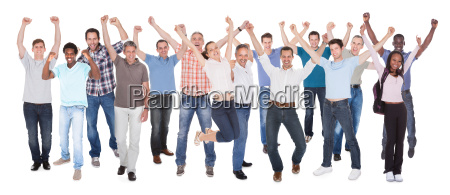 large group of excited business people