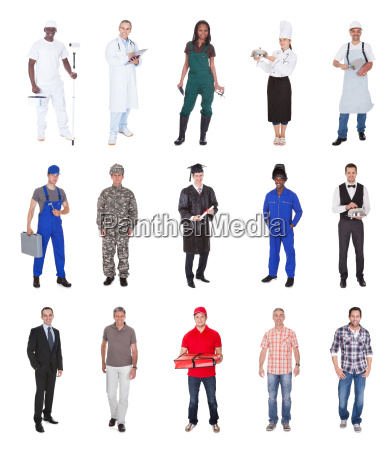 multiethnic people with various occupations