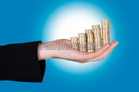 businesswoman holding out empty palm