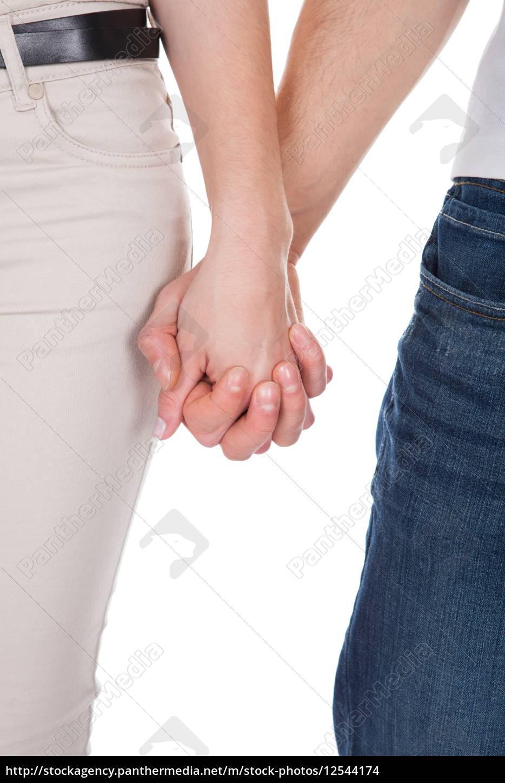 freigestellte, bild, von, paar-holding-hände, über, weißem - 12544174