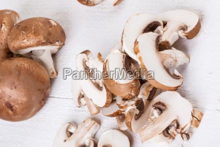 cut fresh porcini mushrooms champiggnons throughout