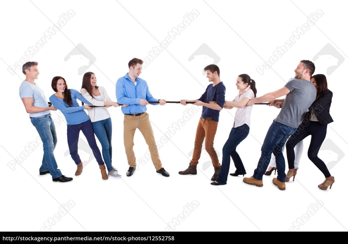 zwei, gegnerischen, mannschaften, ein, tauziehen, mit - 12552758