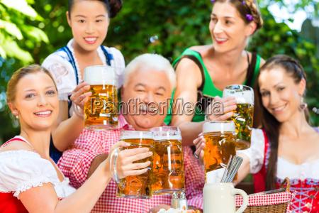 in the beer garden friends