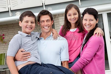 beautiful family having fun outdoors