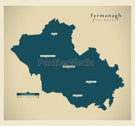 moderne landkarte fermanagh uk
