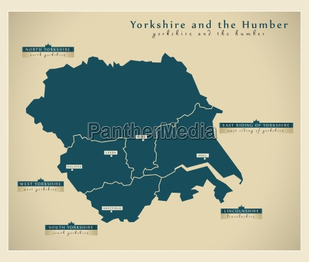 moderne landkarte yorkshire uk
