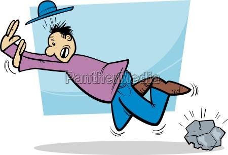 stumbling man cartoon illustration