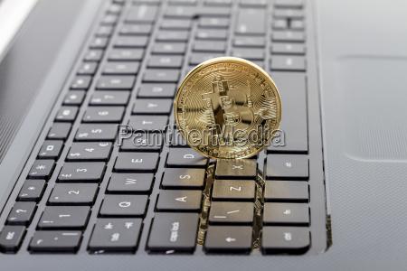 photo golden bitcoin new virtual money