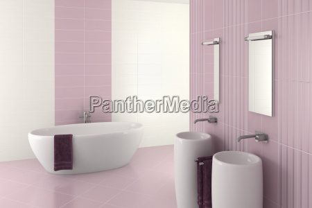 lila modernes badezimmer mit doppelwaschbecken und