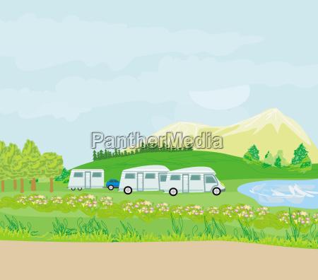 campingplatz in der morgensonne