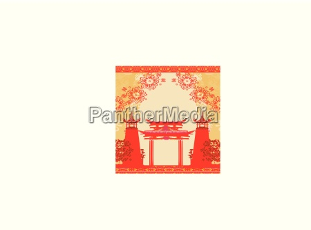 abstract card with asian buildings vintage