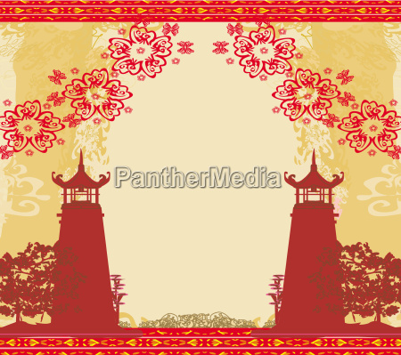 abstract card with asian buildings vintege