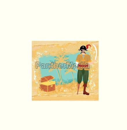 abstrakte grunge illustration mit pirat und