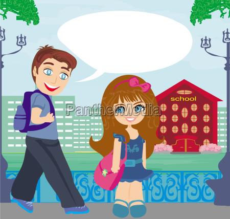 glueckliche kinder gehen zur schule