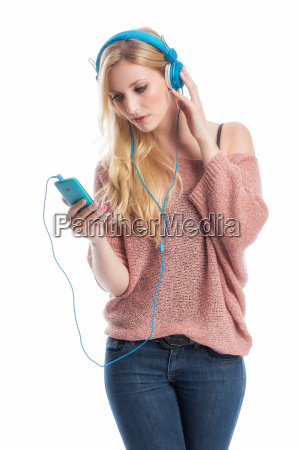 woman with cell phone and headphones