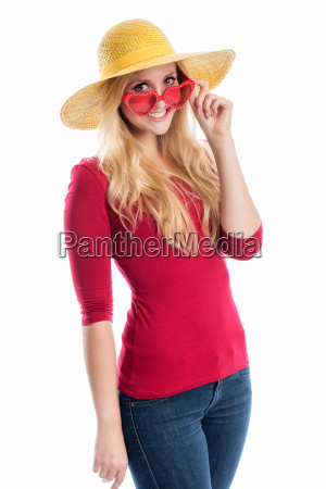 woman with summer hat and sunglasses