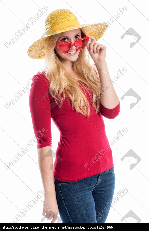 frau, mit, sommerhut, und, sonnenbrille - 12624966