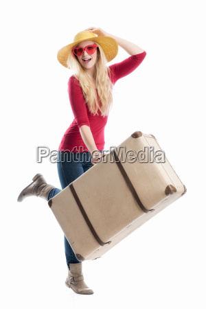 woman with travel suitcase
