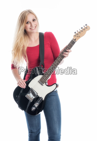 woman with electric guitar